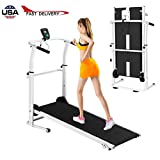 Airpow Folding Manual Treadmill - Easy Assembly Manual Walking Treadmill Under Desk Treadmill with LED Display Screen - Cardio Fitness Exercise Incline for Home and Office (from US, Fast Delivery)