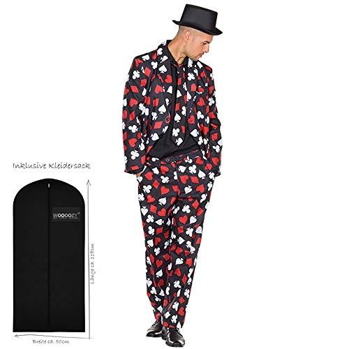WOOOOZY Herren-Kostüm Pokerspieler, Gr. 54-56 - inklusive praktischem Kleidersack