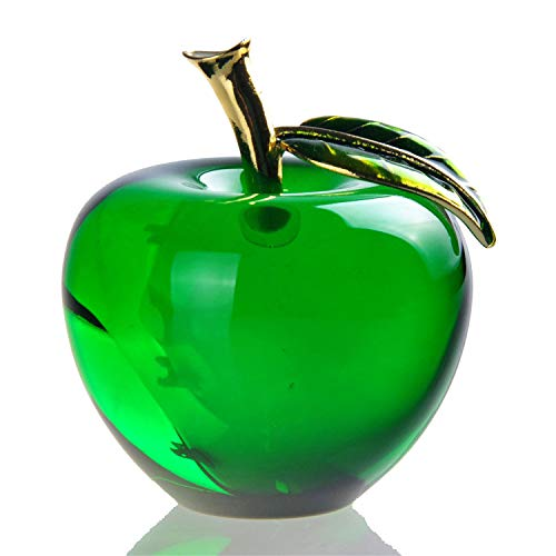 3D Crystal Apples Figurines Miniatures Paperweight Unique Wedding Gifts Home Office Table Decoration Crafts,Green,50mm
