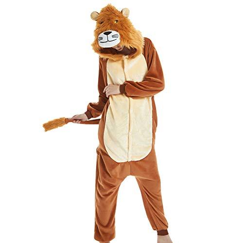LPATTERN Erwachsene Damen/Herren Cartoon Kostüm- Jumpsuit Overall Schlafanzug Pyjamas Einteiler, Braun Löwe, L für Körpergröße 166-172CM