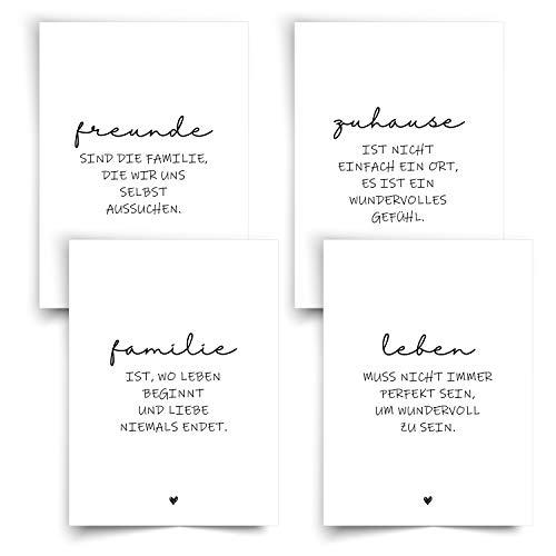 Liebevoll gestaltete Postkarten mit Sprüchen 4er Set ● Postkarten für Freunde und Familie ● Schwarz Weiss Postkarten in A6