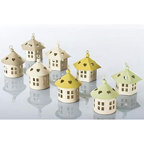 8 PZ Lanterna in latta 7 cm Tonda o esagonale tetto colorato BOMBONIERA