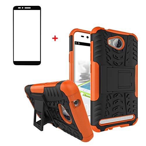 FullProtecter Huawei Y3 II 2016 Hülle,Bumper Cover Schutz Tasche Handyhülle Schutzhülle Silikon TPU+PC Hardcase für Huawei Y3 II 2016(Orange)+2 Stück Panzerglas Schutzfolie