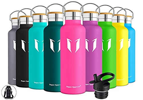 Super Sparrow Trinkflasche Edelstahl Wasserflasche - 750ml - Isolier Flasche mit Perfekte Thermosflasche für Das Laufen, Fitness, Yoga, Im Freien und Camping   Frei von BPA