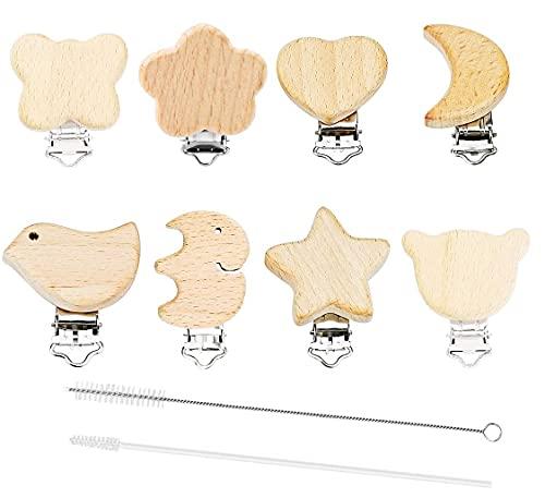 8 Stück Schnullerclip Holz Natur, Holzclip Für Schnullerkette Verschluss, Nuckelclip Baby Clip Metall Tiere Holz Halter Schnullerketten Clips Nippel Halter Säugling Zubehör für Baby und Kind