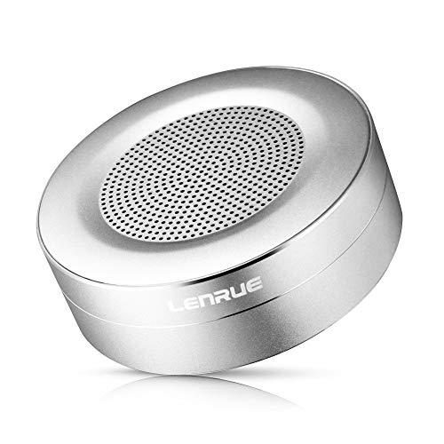 LENRUE K2 Bluetooth Speakers, Portable Wireless Mini Speaker. Built-in-Mic and TF Card for iPhone, iPod, iPad, Phones, Tablet, Echo dot (Sliver)