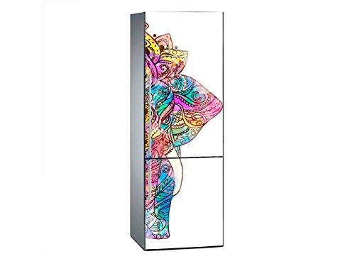 Oedim Vinilo para Frigorífico Elefante Mandala 185 x 60 cm | Adhesivo Resistente y de Fácil Aplicación | Pegatina Adhesiva Decorativa de Diseño Elegante