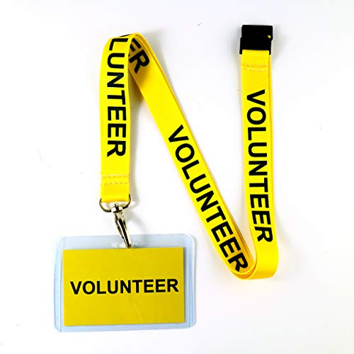 Volunteer Lanyard w/Safety Breakaway, Plastic Card Holder & Card Pass - ID Holder for Events Fundraising Concert School Backstage - ID Badge Holder for Men Women Kids (Yellow 10 Lanyards)