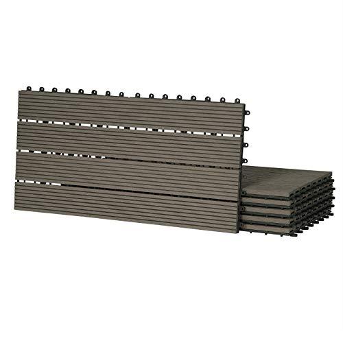 Laneetal 12pcs Piastrelle da Esterno Incastrabili per Pavimenti Pavimentazione in WPC per Giardino Terrazza Patio 2m² Colore Caffè 0360025z