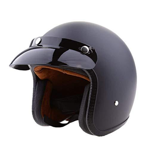 Tubayia Moto Rétro Casque avec Visière Ouverte 3/4 Tête Protection