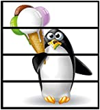 Wallario Möbelfolie/Aufkleber, geeignet für IKEA Malm Kommode - Süßer EIS Pinguin mit 4 Schubfächern