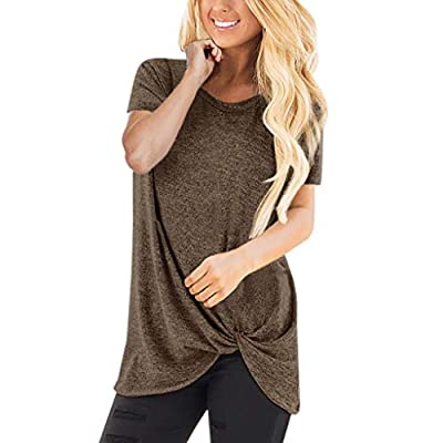 TWGONE Long Tunic Tops for Women to Wear with Leggings Short Sleeve O Neck Blouse Twist Knotted T- Shirt
