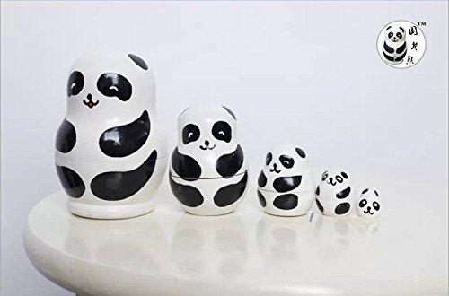 ANKKO 5 Stück RRussische hölzerne Schachtelung Puppen handgemacht Matryoshka Panda Puppen