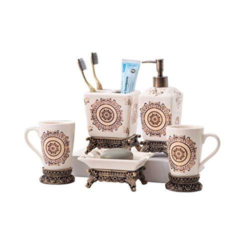 CESULIS Montado en la Pared Cuarto de baño accesorios de baño de cerámica set de 5 piezas de botellas conjunto Loción, x2 que ahueca la taza, cepillo de dientes titular, caja de jabón de tocador A Pru