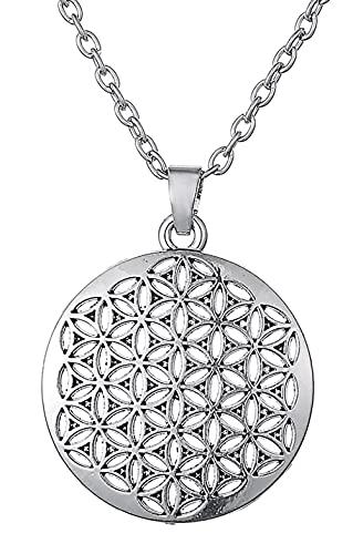 AMOZ Dawapara Vintage Amuleto Flor de la Vida Colgante de Geometría Sagrada Collar para Hombres Mujeres Regalos Joyería,Eslabón de Serpiente, Tono Plateado