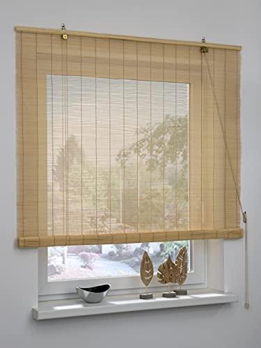 GARDINIA Persiana Enrollable de bambú Natural, instalación en Techo o Pared, no Transparente, Todas Las Piezas de instalación Incluidas, 80 x 160 cm (Ancho x Alto)