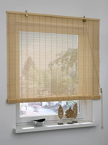 GARDINIA Persiana Enrollable de bambú Natural, instalación en Techo o Pared, no Transparente,...