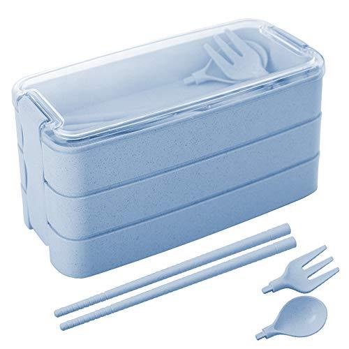 Bento Box, ZoneYan Porta Pranzo, Porta Pranzo Con Contenitore, Scatola Porta Pranzo, Bento Box Lunch Box, Distribuzione Separata del Cibo Con Scomparti (Blue)