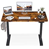 KKL Height Adjustable Electric Standing Desk, 48 x 24 Inches Sit Stand Desk Home Office Table with Splice Board, Rustic...