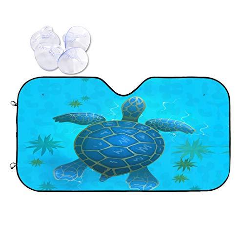 Foruidea Blue Ocean Sea Turtle - Parasol para parabrisas de coche, camión, todoterrenos, rayos UV, protector de visera de sol, mantiene tu vehículo fresco (51.2 x 27.5 pulgadas)