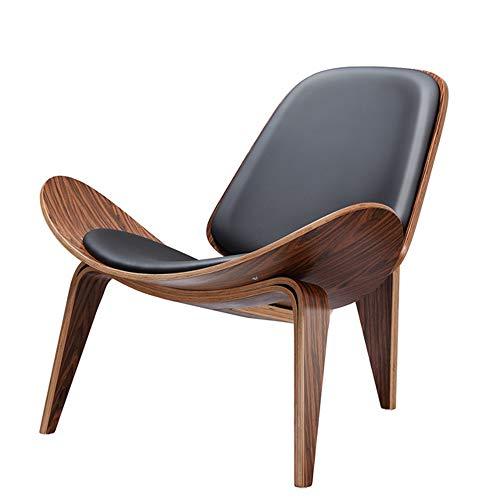 LMXDCS Salón nórdica Creativo diseñador Simple sofá Silla Sonrisa Avión Silla Shell Sillas de Comedor,Dark Wood Color