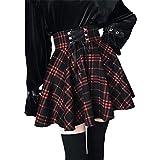 SIPEIEN Falda a cuadros de una línea de falda gótica de cintura alta plisada llamarada corta mini falda patinadora, rosso, 36