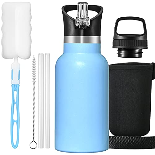 OMORC Botella Agua Acero Inoxidable, 350ml Botella para Niños, Aislado al Vacío, Botella Termo Boca Ancha a Prueba de Fugas, sin BPA, con Dos Tazas, Pajitas, Bolsa y Cepillo de Limpieza