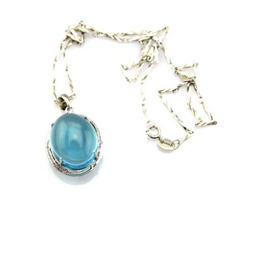 15 x 18 mm del ángel del Jade creado Oval Azul Topacio colgante Zircon cúbico 45,72 cm 925 925925 de cadena de plata