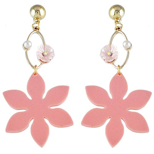 Pendientes de gota bohemios para mujer, diseño de flor de acrílico vintage, imitación de perlas de imitación, color nombre: #2