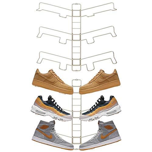 mDesign 2er-Set Schuhablage – verstellbares Wand Schuhregal für drei Paar Sneaker, Sportschuhe etc. – platzsparende Alternative zum Schuhschrank – mattsilberfarben