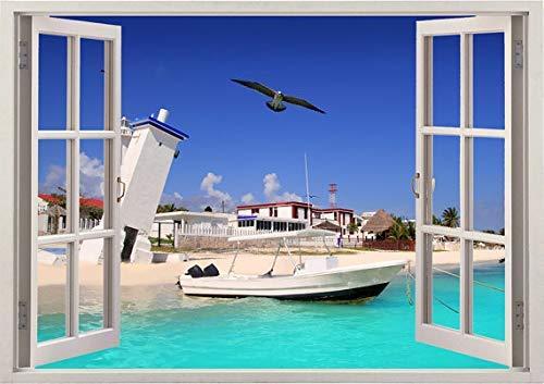Efecto 3D Ventana Vista Pegatinas de pared Faro de playa Arena blanca Calcomanía de pared Decoración de vinilo Mural Paisaje Arte Decoración para el hogar 40x60cm
