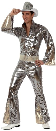 Atosa-10382 Disfraz Disco, color plateado, XL (10382)