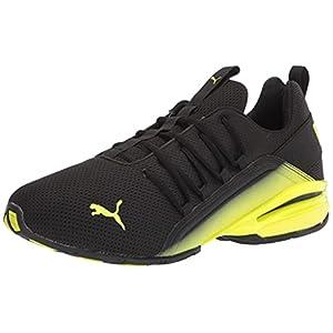 PUMA Men's Axelion Running Shoe, Black-Yellow Alert, 10.5