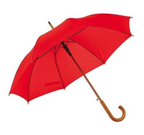 Automatik Regenschirm Holzschirm Stockschirm Portierschirm mit gebogenem Rundhaken Holzgriff in 103 cm Durchmesser von notrash2003 (Rot)