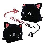AnVerse Peluche De Gatito Reversible, Peluche de Gato Reversible de Doble Cara, Juguete Creativo De Gato Reversibles Peluche pequeños para BebéS, NiñAs Y NiñOs (Negro)