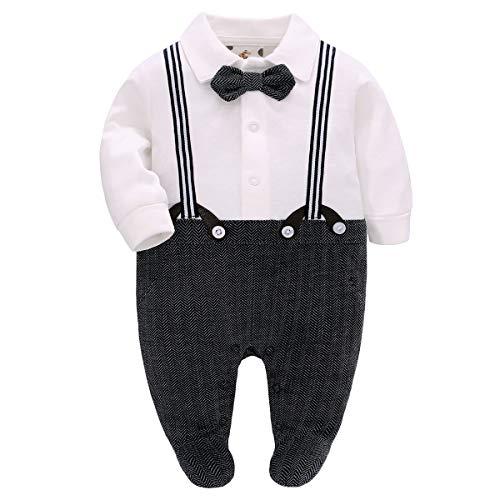 Famuka Baby Junge Anzug Taufe Hochzeit Partei Babykleidung (Weiß, 0-3 Monate)