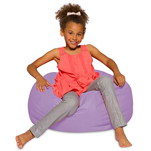 Posh Creations Bean Bag Chair for Kids, Teens, and Adults Includes Removable and Machine Washable Cover, 27in - Medium, Heather Lavender