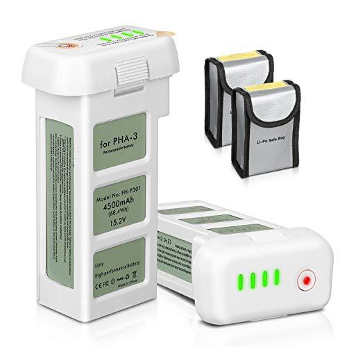 ENEGON Batería de Repuesto 2 Paquetes Lipo Vuelo Inteligente 4500mAh 15.2V Actualizado + Bolsa Segura de Batería para dji Phantom 3 SE, Profesional, Phantom 3 Avanzado, Phantom 3 Estándar, 4K Drones