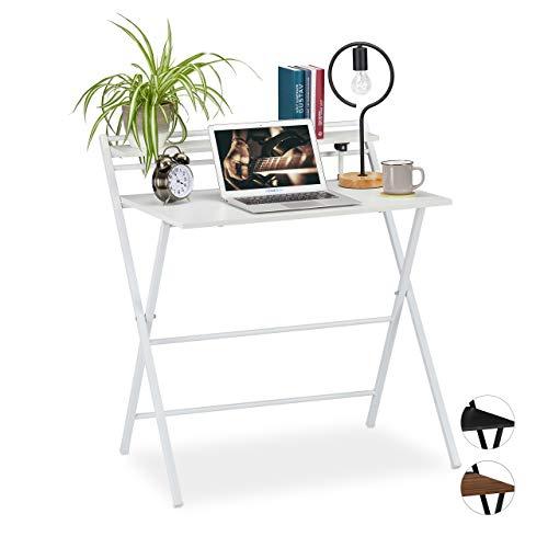 Relaxdays Schreibtisch klappbar, platzsparender Bürotisch, mit Ablage, Home Office, Jugendzimmer, 92 x 84 x 60 cm, weiß, PB, Eisen