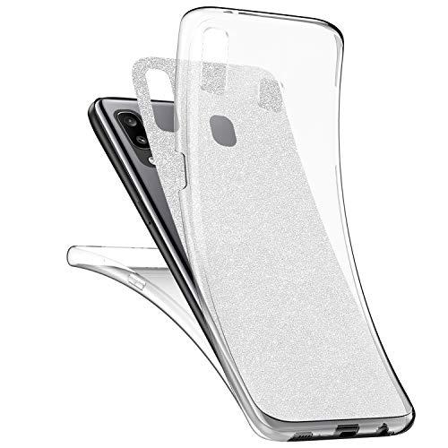 Ysimee Compatible avec Samsung Galaxy A20/A30 Coque Intégral,Silicone Paillette Brillante Étui Transparente Double Gel TPU Housse 360 Degrés Avant Et Arrière Ultra Mince et Léger Bumper Cover,Argent