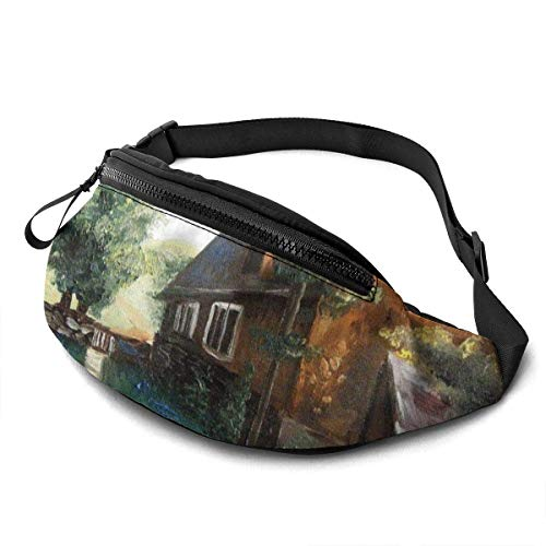 XCNGG Freizeit Hüfttasche Camping Tasche Bergsteigertasche Waist Pack Bag for Men&Women, Tree Sheep Landscape Utility Hip Pack Bag with Adjustable Strap for Workout Traveling Casual Running