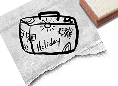 Stempel Motivstempel Holiday Koffer - Bildstempel für Grüße aus dem Urlaub Karten Briefe Urlaubspost Fotobuch Reise-Gutschein Scrapbook -zAcheR-fineT
