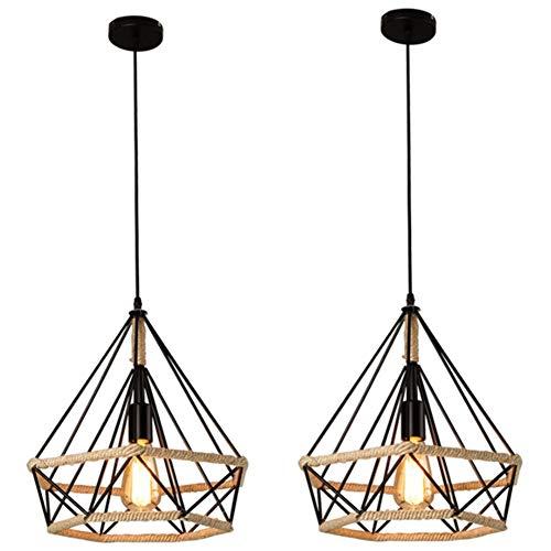 2 piezas Lámpara Colgante Vintage,Luz de Techo Retro,