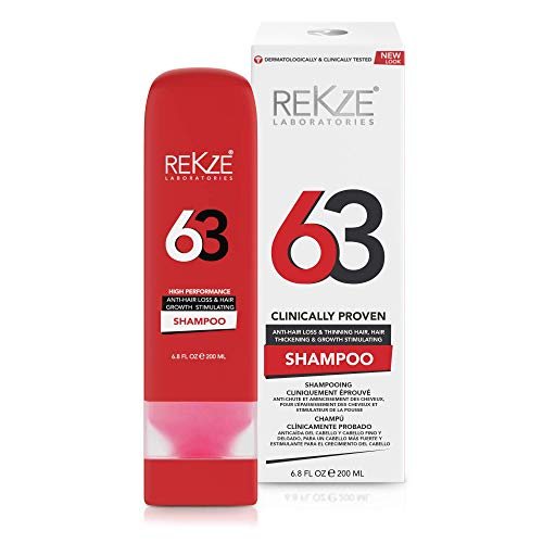 REKZE 63 Shampoo Clinically Proven For Hair Thickening, Hair Growth & Anti-Hair Loss & Thinning Hair, DHT Blocker For Receding Hairline & Pattern Baldness/Alopecia