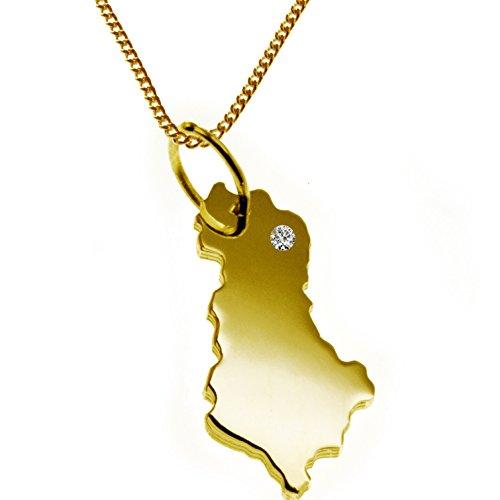 50cm collana + Albania ciondolo con un Brillant 0,015CT AN il suo desiderio luogo in massiccio 585Giallo Oro