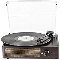 Kedok Bluetooth Record Player th Headphone Jack/Aux Input/RCA Line Out (Brown)