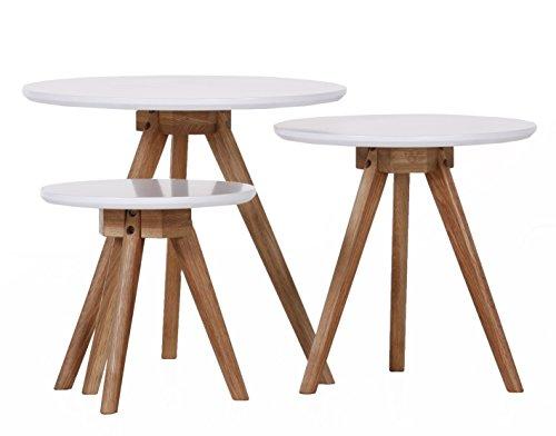 Stylefurniture 3-er Set Couchtische, Eiche, weiß, 50 x 50 x 45 cm