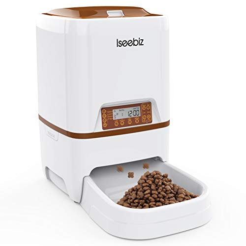 Iseebiz Automatic Pet Feeder, Cat Dog Food Dispenser 6 Liter Hopper with Voice...