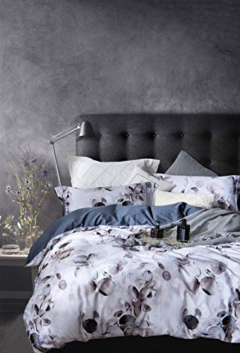 MILDLY Bedding Floral Duvet Cover Sets Queen Size, 100% Egyptian Cotton Duvet Cover with Zipper Closure and 2 Pillow Shams, Botanical Floral Flowers Pattern, Connaught