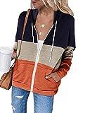 Uusollecy Sudadera con capucha para mujer, de un solo color, con cremallera, estilo informal B-orange XXL